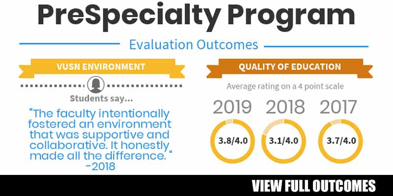 PreSpecialty Program Outcomes